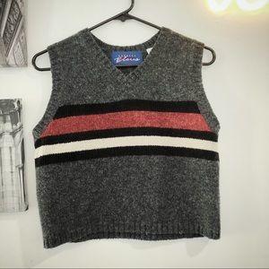 Vintage 90s Express Bleus wool blend striped vest